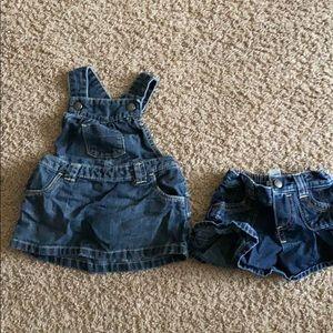 6-12 months 1 denim jumper dress and 1 denim skirt